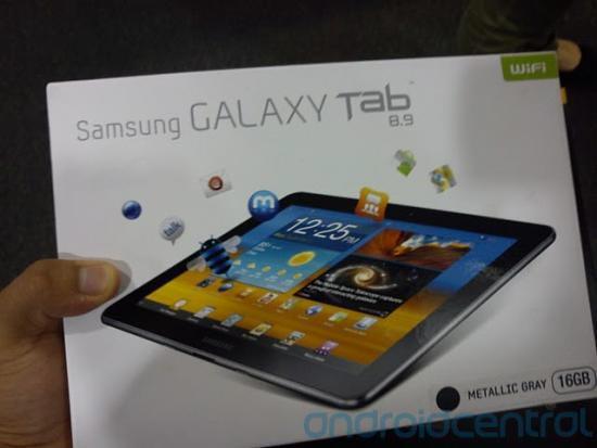 Galaxy Tab 8.9 en paquete